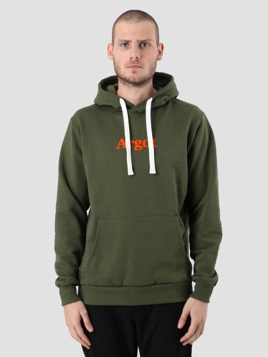 Les Deux Argot Hoodie Dark Green Orange LDM201013