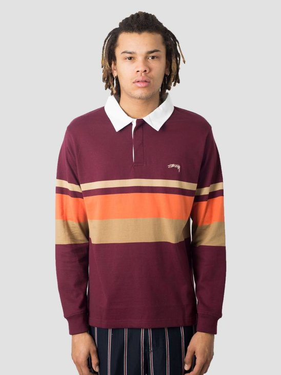 Stussy Lucas Stripe Knit Sweater Maroon 1017