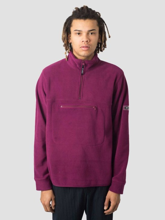 Stussy Polar Fleece Mock Neck Crew Sweatshirt Berry 0623