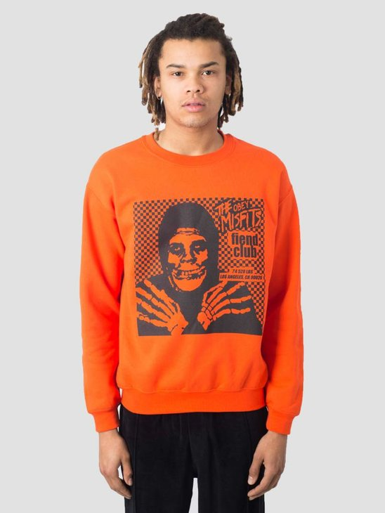 Obey Misfits Fiend Club Hallow Basic Box Crew Neck Fleece Orange 114982055