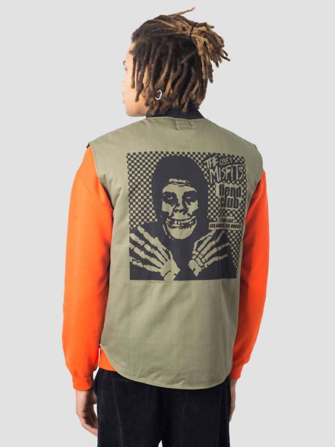Obey Obey Misfits Fiend Club Hallow Deconstruction Vest Olive 121412055