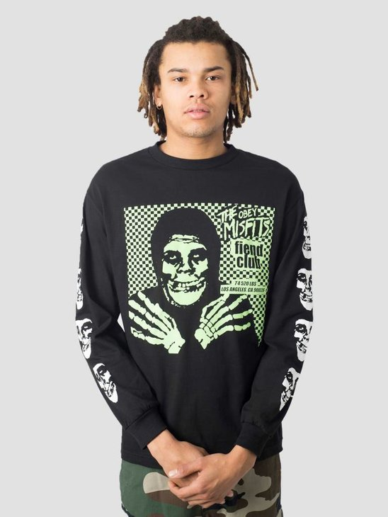 Obey Misfits Fiend Club Hallow Basic Longsleeve Black 164902055