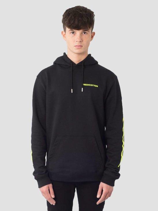 FreshCotton Logo Hoodie Neon Black