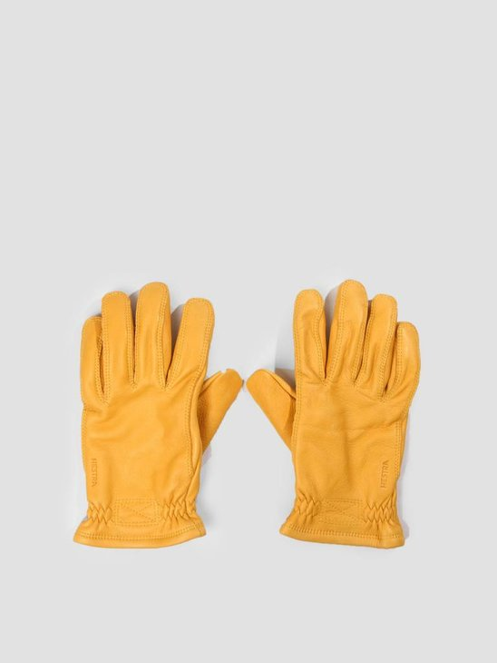 Hestra Hestra Deerskin Wool Tricot Glove Charcoal Natural Yellow 20450