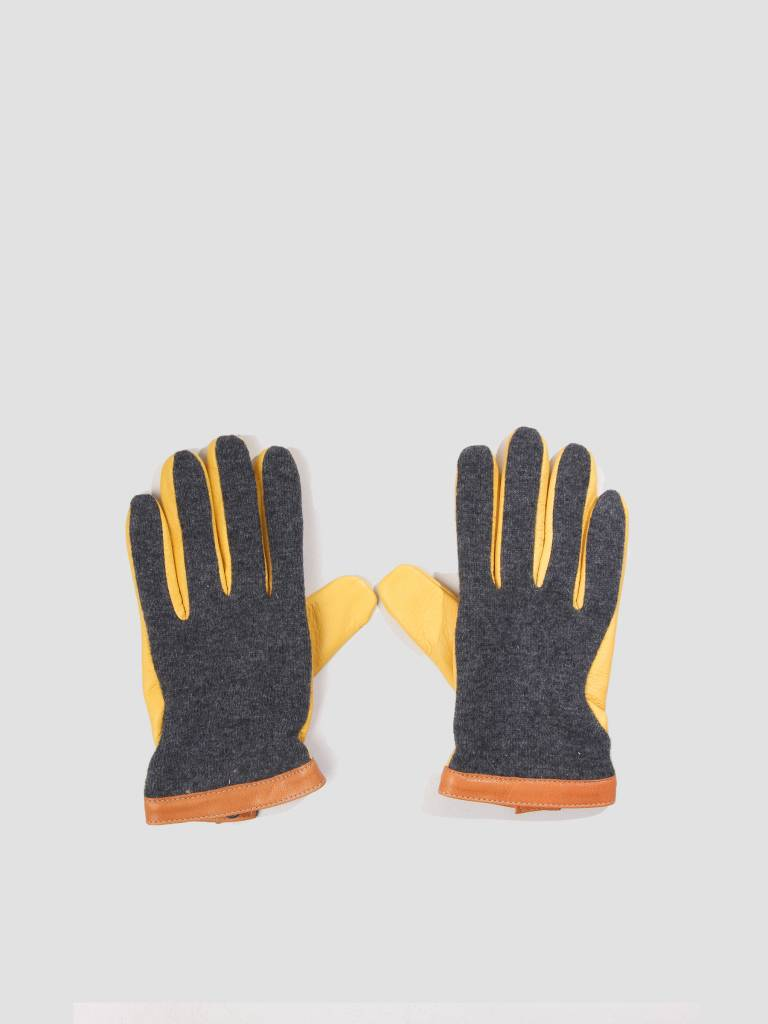 Hestra Hestra Hestra Deerskin Wool Tricot Glove Charcoal Natural Yellow 20450
