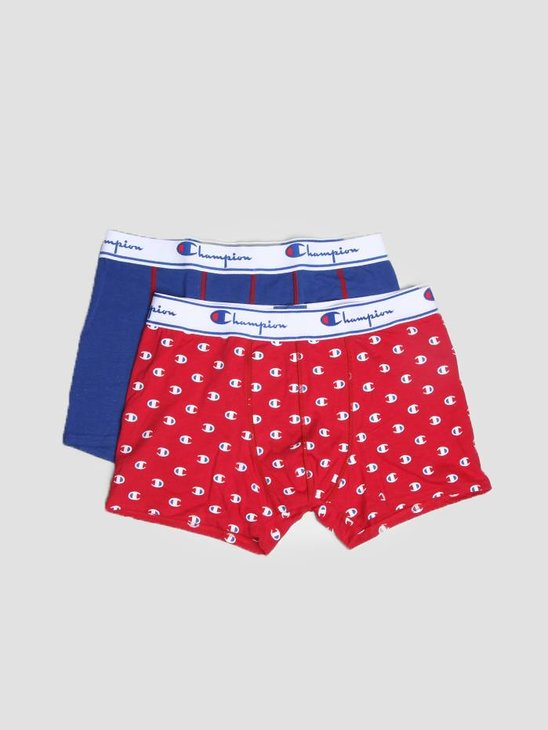 Champion Boxer Cotton Mix Logo Print Navy Red 372002