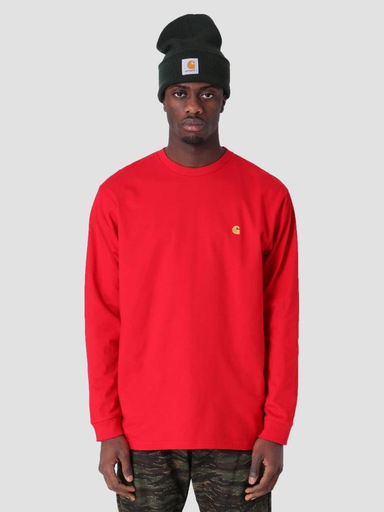 Carhartt Longsleeve Chase T-Shirt Cardinal Gold I026392