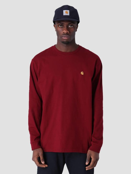 Carhartt Longsleeve Chase T-Shirt Cranberry Gold I026392
