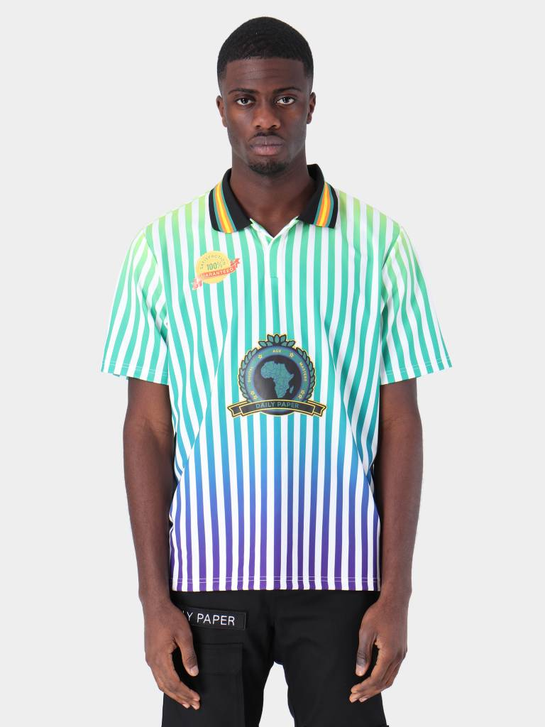 Daily Paper Daily Paper Football 6 Jersey White Yellow Green Blue Purple Stripe 19S1TO09-06