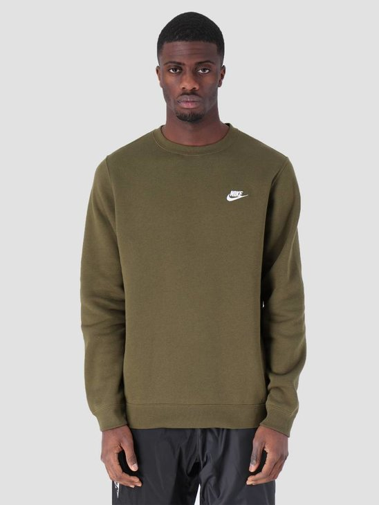 Nike NSW Crew Sweater Olive Canvas  White 804340-395