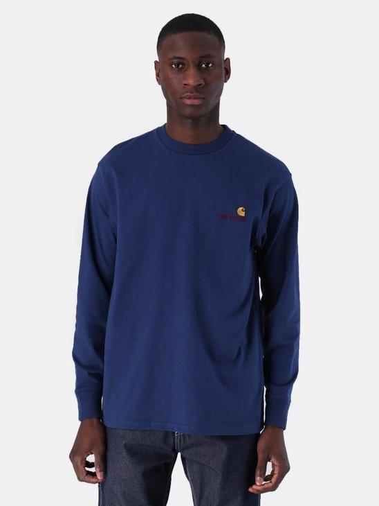 Carhartt WIP Longsleeve American Script T-Shirt Metro Blue I025712