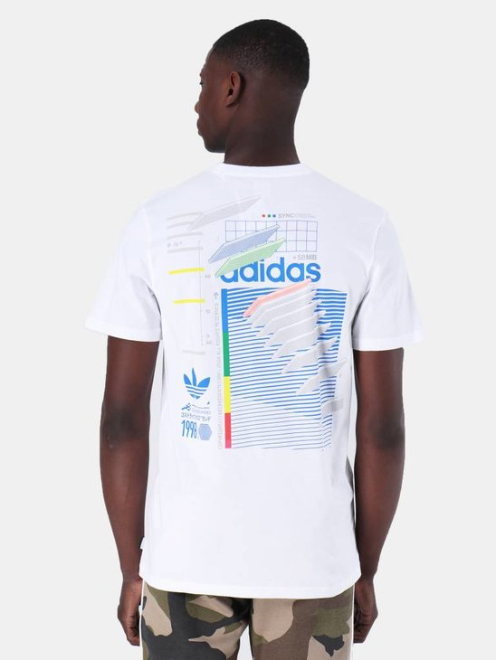 adidas Dodson T-Shirt White Blue Green Rea DU8392