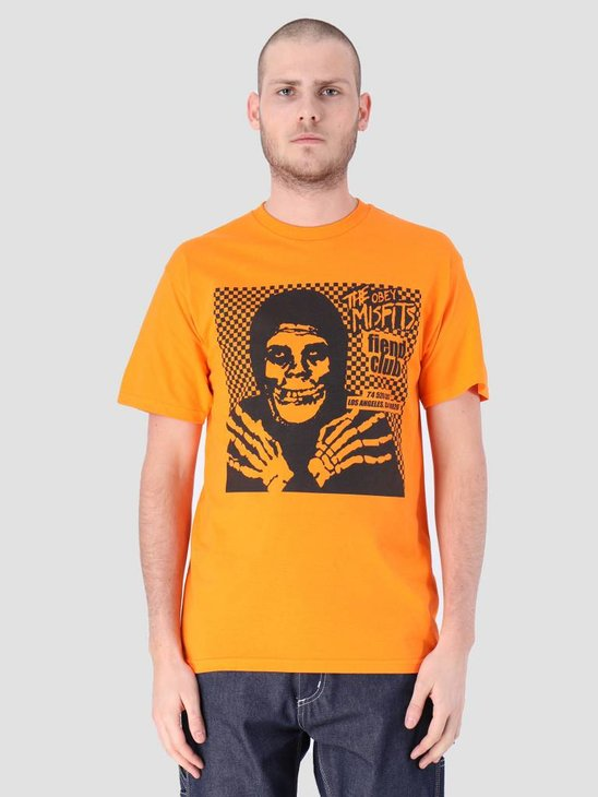 Obey Misfits Fiend Club Hallow Basic T-Shirt Orange 163082055