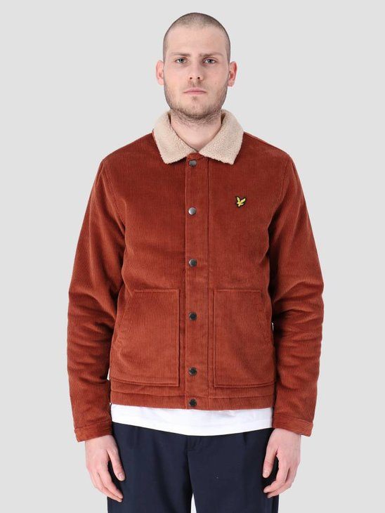 Lyle and Scott Jumbo Cord Shearling Jacket Brown Spice JK906V