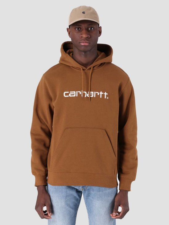 Carhartt WIP Hooded Carhartt WIP Sweat Hamilton Brown White I027093