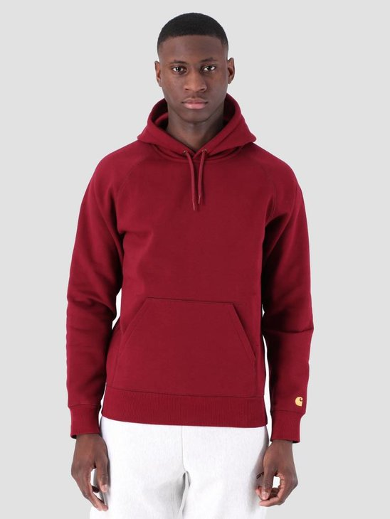 Carhartt WIP Hooded Chase Sweat Cranberry Gold I026384
