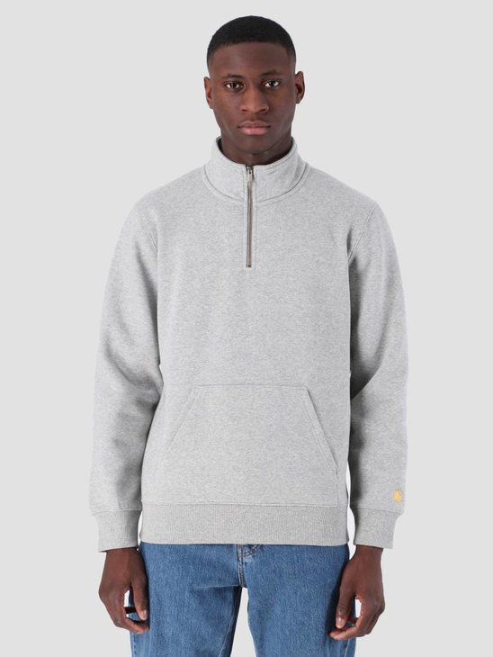 Carhartt WIP Chase Neck Zip Sweat Grey Heather Gold I027038