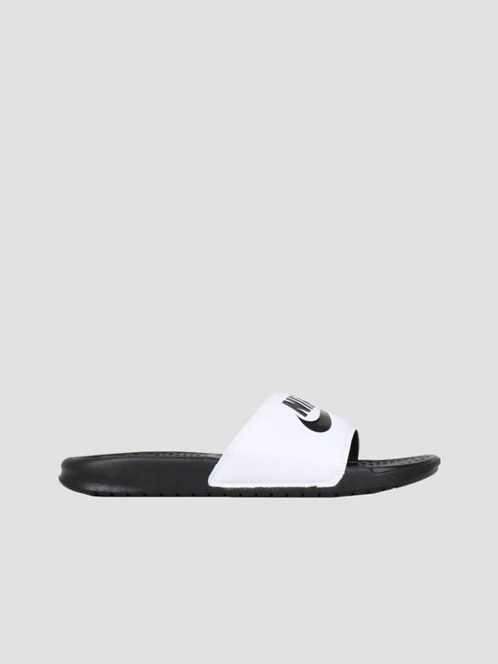 "Nike Benassi ""Just Do It."" Sandal White/Black-Black 343880-100"