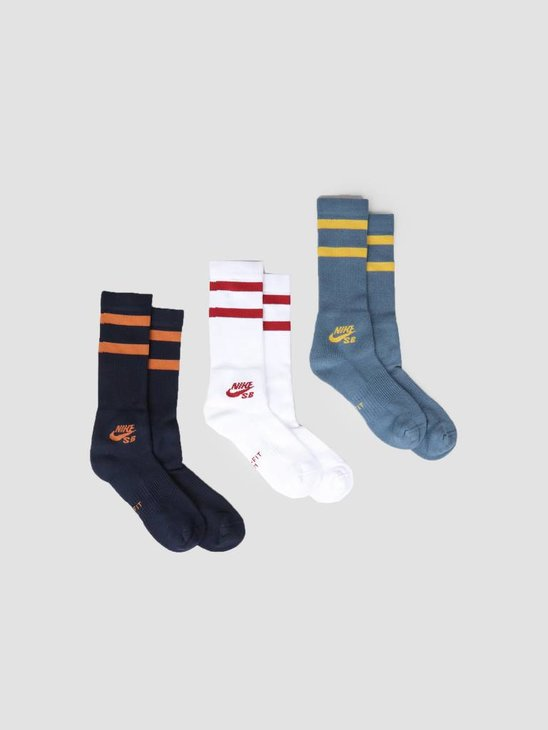 Nike SB Crew Skateboarding Socks (3 Pairs) Multi-Color Sx5760-990