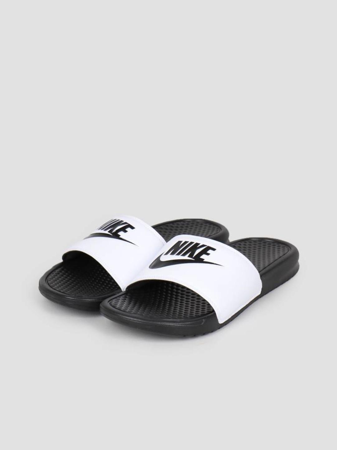 """Nike Nike Benassi """"Just Do It."""" Sandal White/Black-Black 343880-100"""