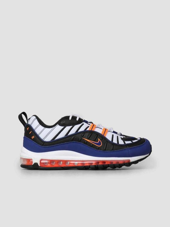 Nike Air Max 98 White Deep Royal Blue-Total Orange-Black Cd1536-100