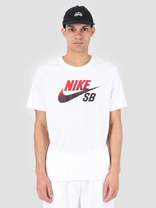 Nike SB Dri-Fit T-Shirt White Black University Red Bv7433-101