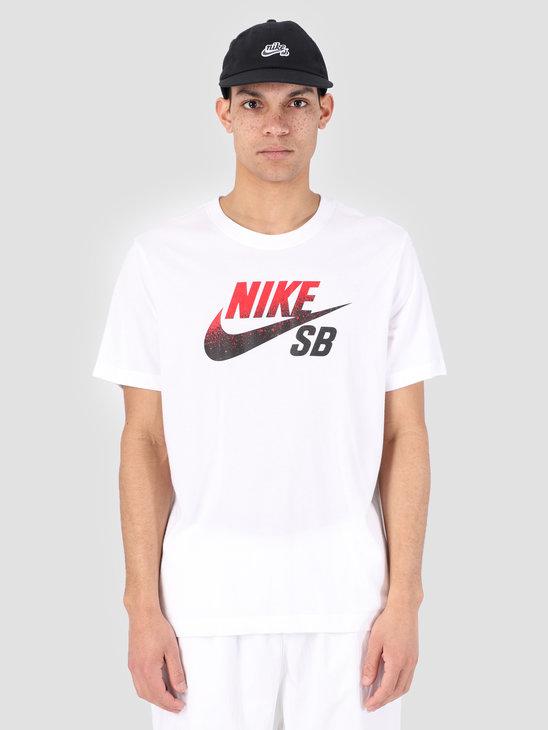 Nike SB Dri-Fit T-Shirt White Black University Red Bv7433-101