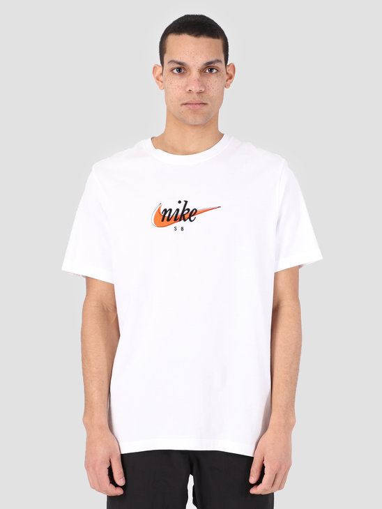 Nike SB T-Shirt White Safety Orange Ao0378-100