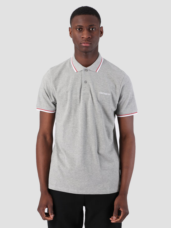 Carhartt WIP Script Embroidery Polo Grey Heather White Cardinal I026244