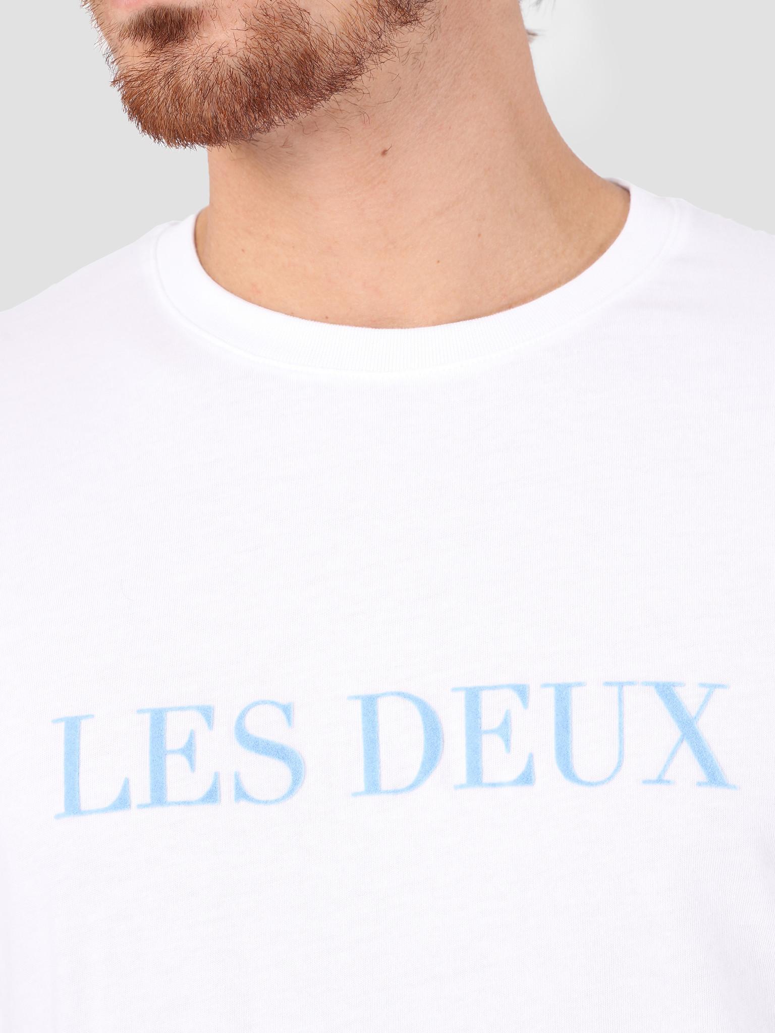 Les Deux Les Deux Les Deux T-Shirt White Placid Blue LDM101001