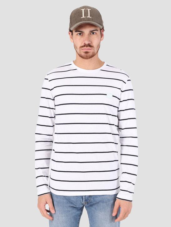 Les Deux Betrois Longsleeve T-Shirt White Navy LDM110006