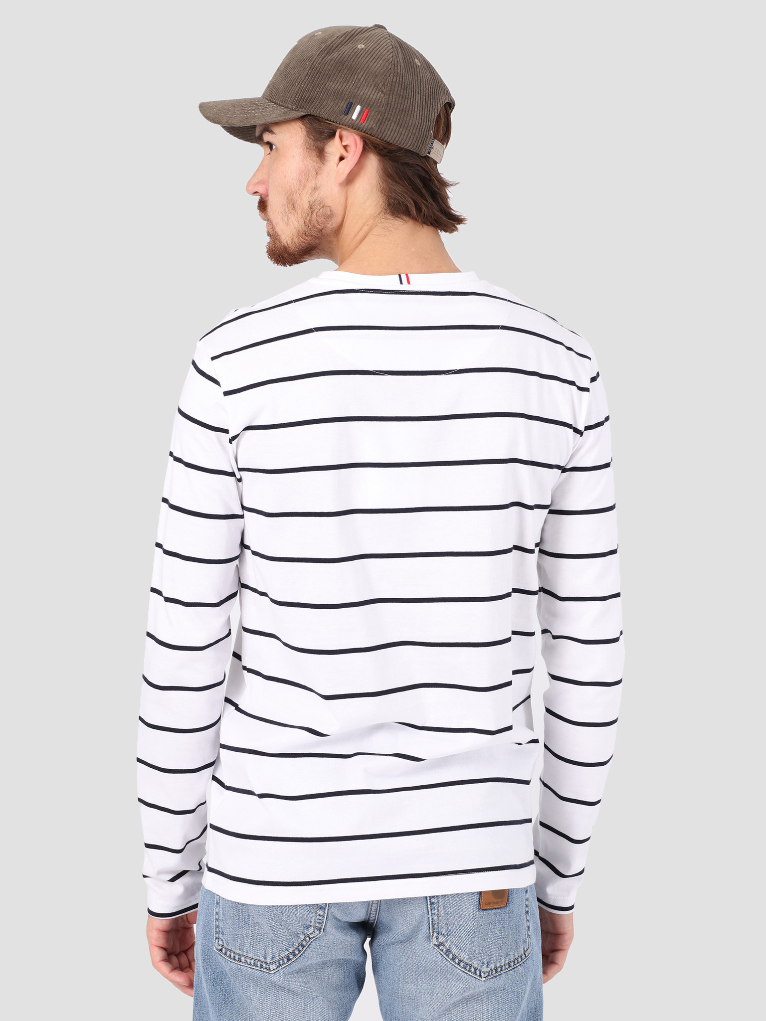 Les Deux Les Deux Betrois Longsleeve T-Shirt White Navy LDM110006