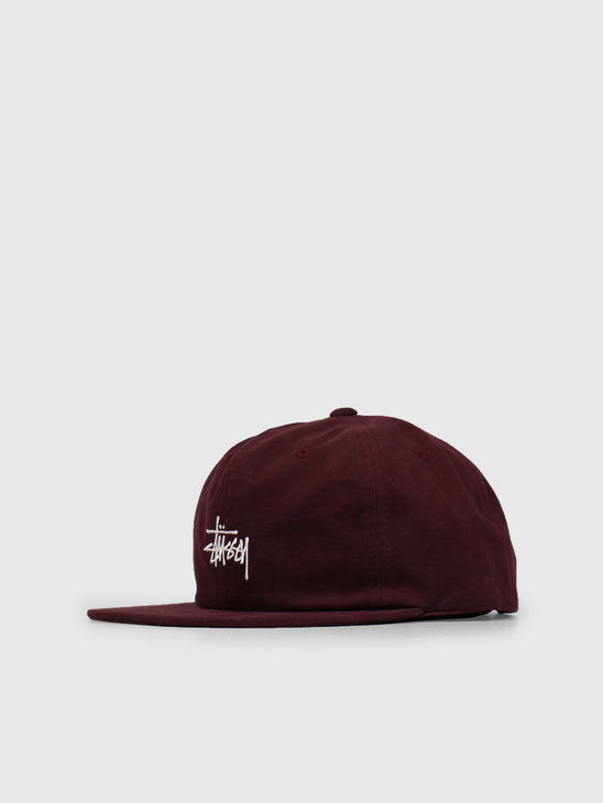 Stussy Washed Oxford Strapback Cap Burgundy 0615