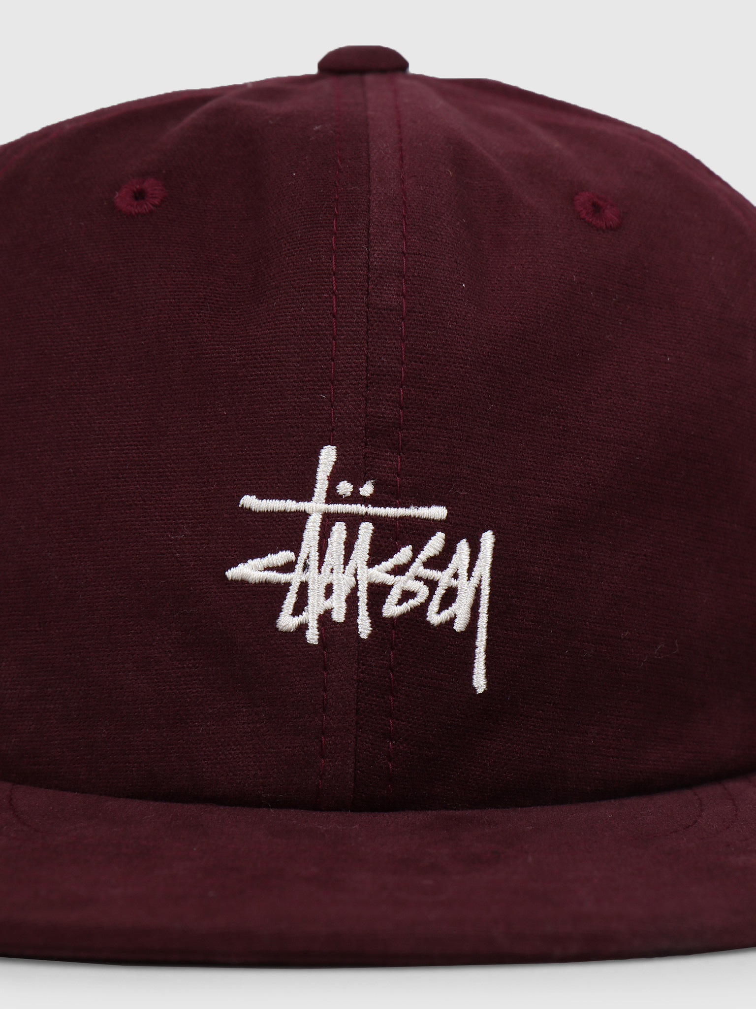 Stussy Stussy Washed Oxford Strapback Cap Burgundy 0615