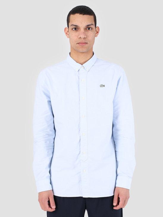 Lacoste 1Hc2 Men'S Longsleeve Woven Shirt 01 Creek White Ch3766-91