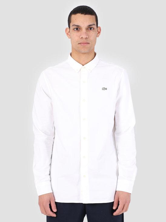 Lacoste 1Hc2 Men'S Longsleeve Woven Shirt 01 Mascarpone White Ch3766-91