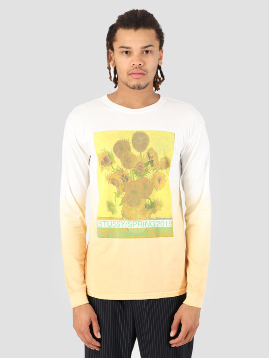 Stussy Sunflower Dip Dyed Longsleeve T-Shirt Yellow 0201