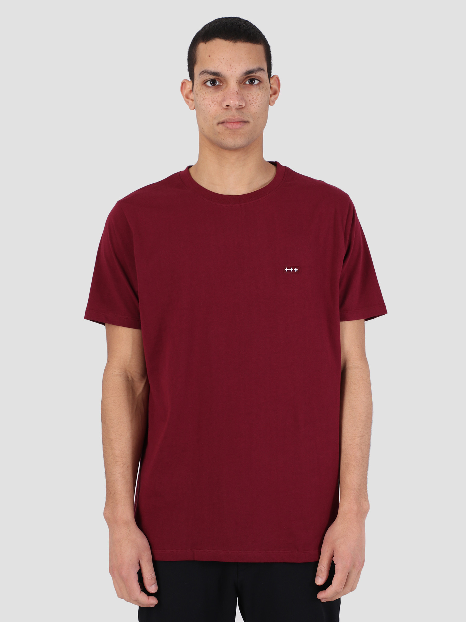 Quality Blanks Quality Blanks QB03 Patch Logo T-Shirt Burgundy Red