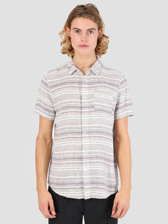 Wemoto Floss Shirt Off White-Navy Blue 131.307-204
