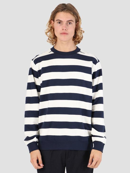 Wemoto Crew Stripe Sweater Navy Blue 131.403-400