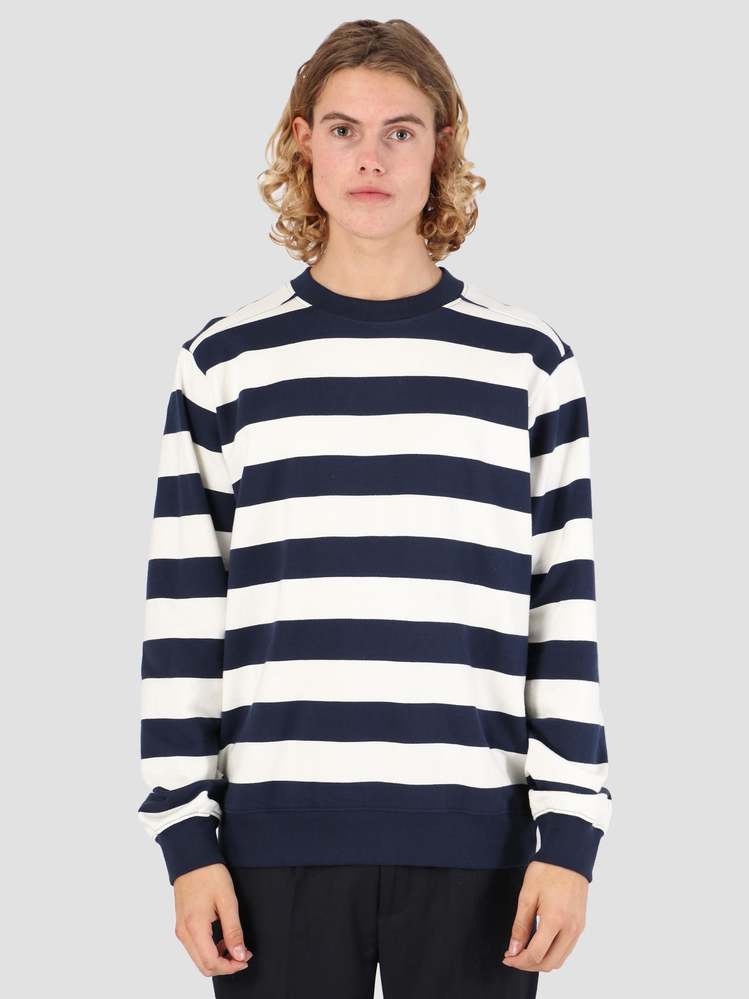 Wemoto Wemoto Crew Stripe Sweater Navy Blue 131.403-400