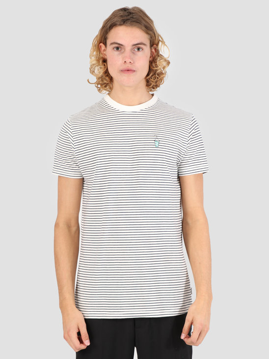 Wemoto Shake Striped Jersey Off White-Navy Blue 131.234-204