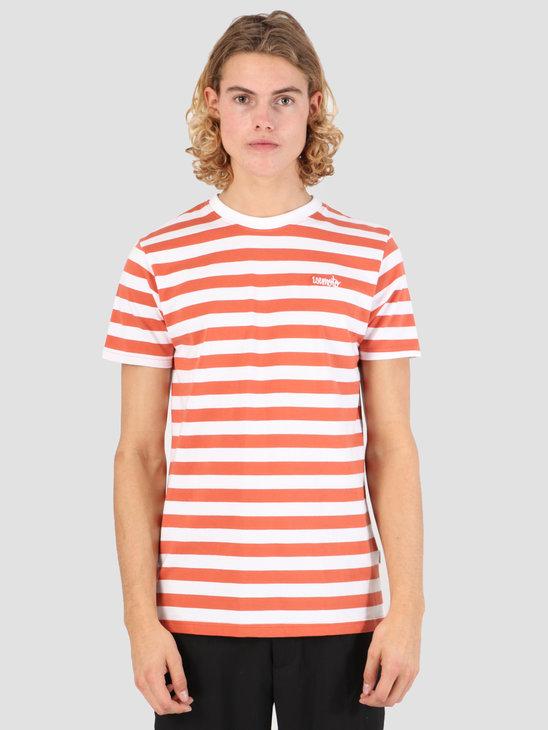 Wemoto Script Stripe Jersey Emberglow-White 131.223-560