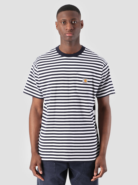 Carhartt WIP Barkley Pocket T-Shirt Stripe Barkley Stripe, Dark Navy White I026364