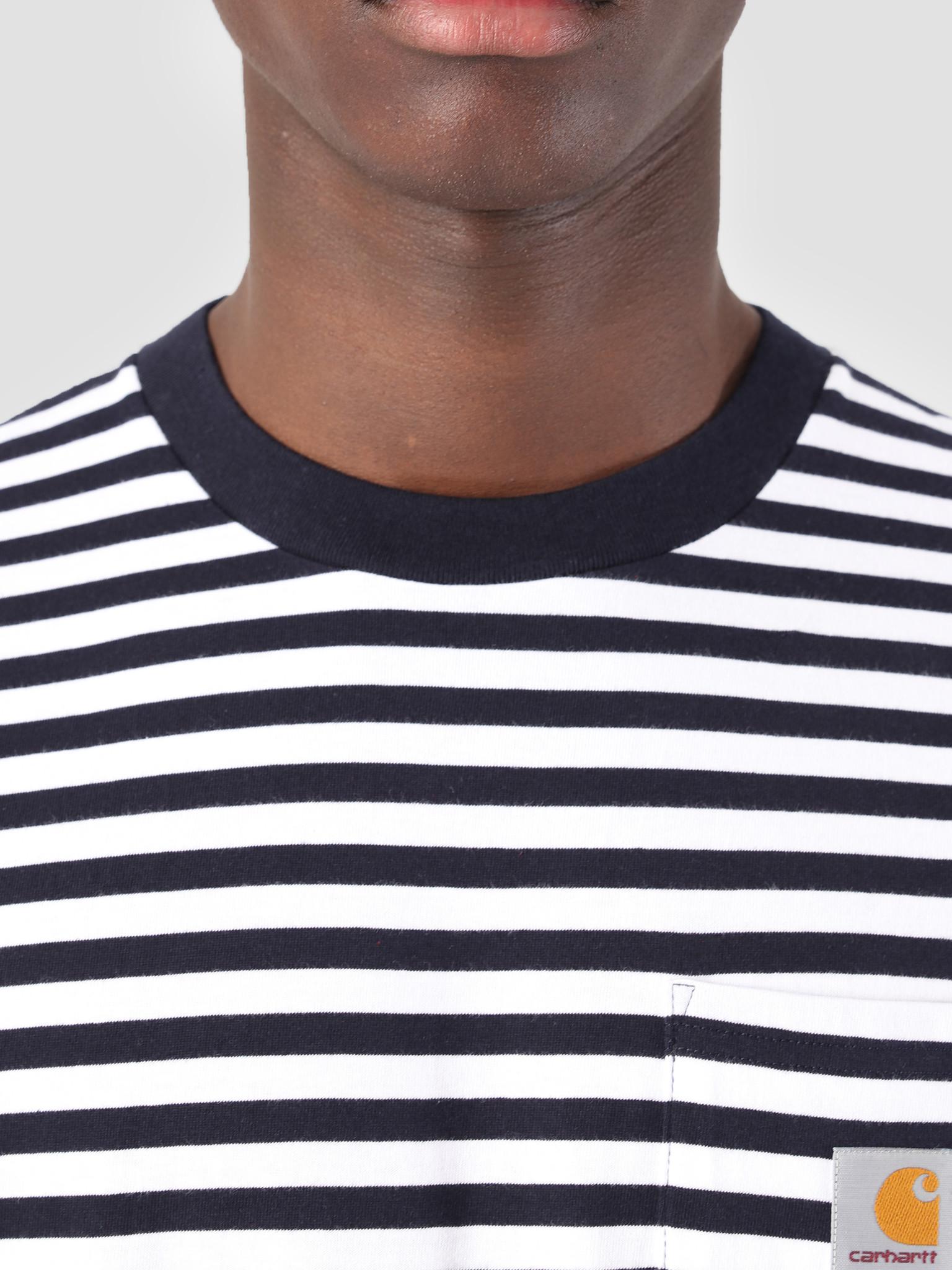 Carhartt WIP Carhartt WIP Barkley Pocket T-Shirt Stripe Barkley Stripe, Dark Navy White I026364