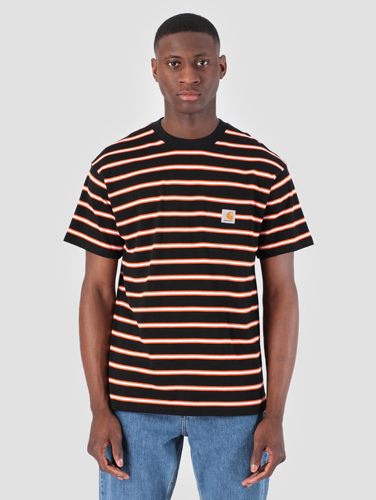 Carhartt WIP Houston Pocket T-Shirt Stripe Houston Stripe, Black I026370