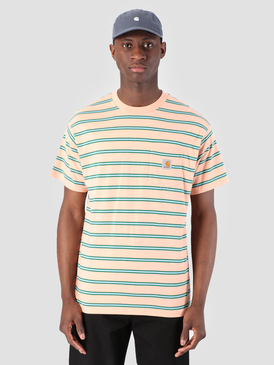 Carhartt WIP Houston Pocket T-Shirt Stripe Houston Stripe, Peach I026370