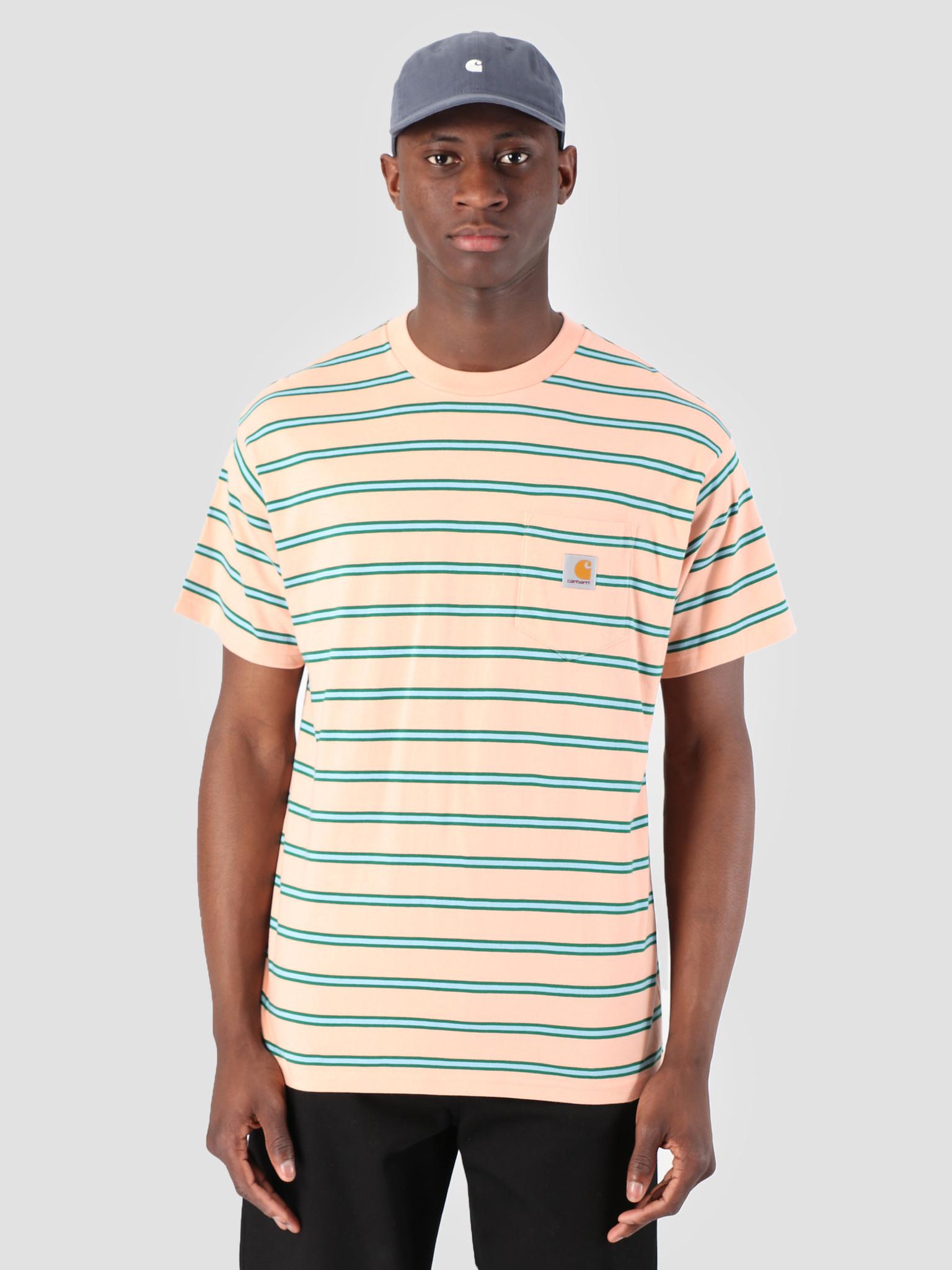 Carhartt WIP Carhartt WIP Houston Pocket T-Shirt Stripe Houston Stripe, Peach I026370