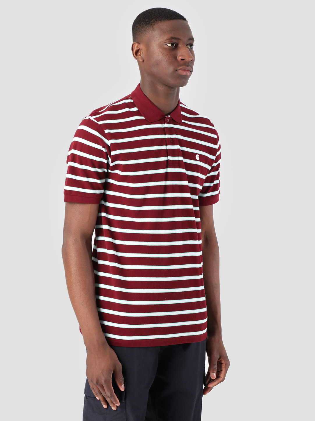 Carhartt WIP Carhartt WIP Houston Polo Houston Stripe Cranberry I026245