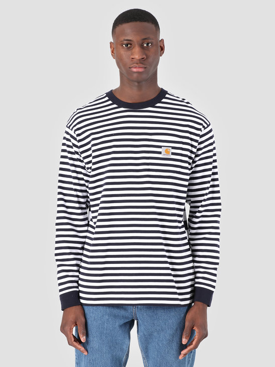 Carhartt WIP Longsleeve Barkley Pocket T-Shirt Stripe Barkley Stripe, Dark Navy White I026365